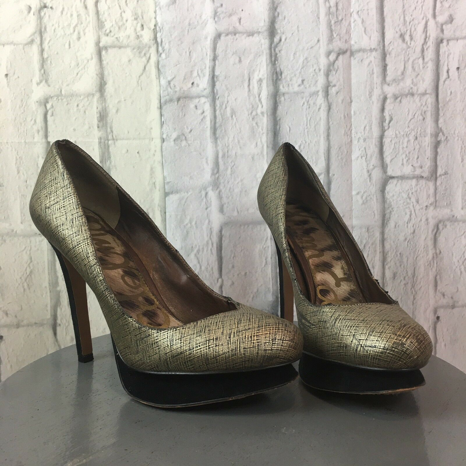 Sam Edelman Ulysa Platform Heels Size 9.5 Metallic Metallic 9.5 Women's Shoes Classic gold bd77e7