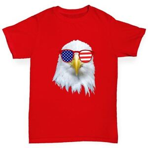 Twisted-Envy-American-Flag-Sunglasses-Eagle-Boy-039-s-Funny-T-Shirt