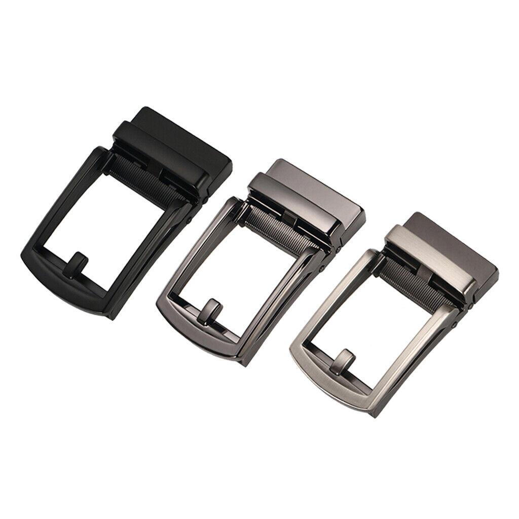 3Pcs Mens Solid Automatic Gürtelschnalle Metall Business Ratchet