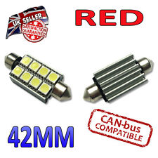 2 x 42mm Festoon Red Canbus LED Number Plate Interior 8 SMD Bulbs 264