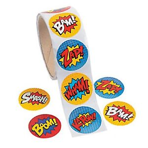 SUPERHERO-PARTY-Stickers-Super-Hero-Kapow-Zap-Boom-Bam-Pack-of-50-Free-Postage