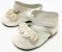 Ivory Ankle Strap Shoes W/rosettes Made For 18 Inch American Girl Doll Clothes