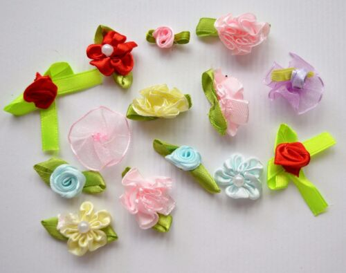 14 Assorted Craft Flowers with Beads 25mm Diameter NEW