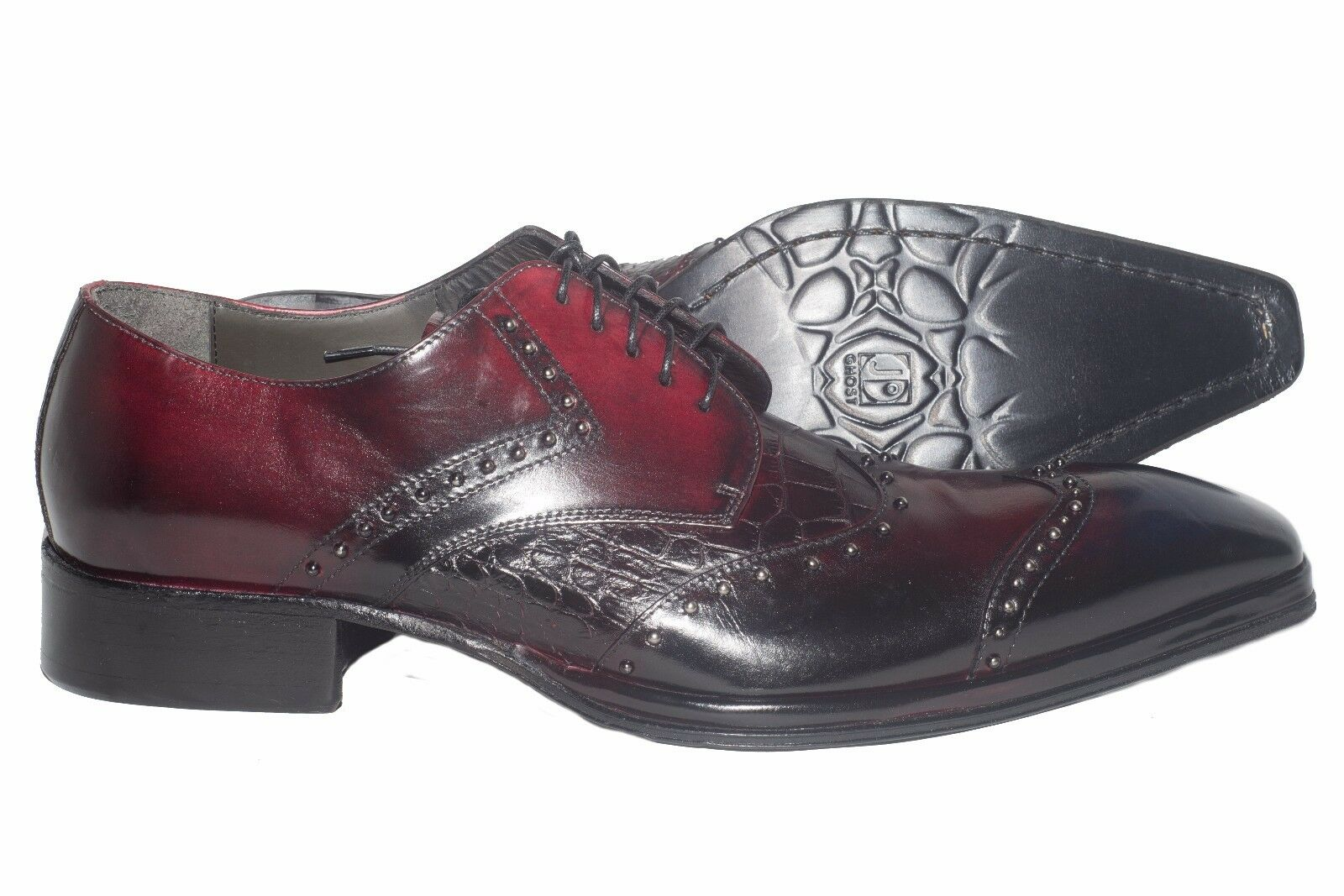 Jo Ghost 738 Italian mens burgundy lace up shoes with metal studs