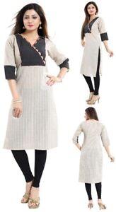 Women-Indian-Short-Kurti-Tunic-Casual-Cotton-Printed-Kurta-Shirt-Dress-NK35