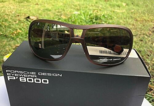 NIB 100/% Authentic Porsche Sunglasses Brown Frames Grey Lens P8537 $350