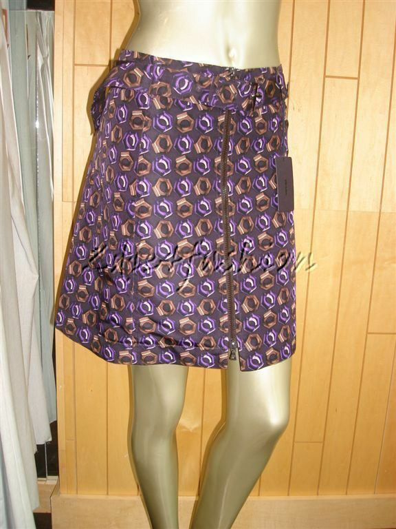 1635 New with Tags PRADA Sexy Purple Brown Nut Art Print Waist Belt Skirt 12 46