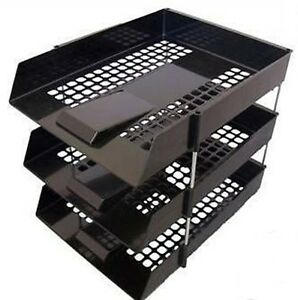 BLACK-IN-OUT-LETTER-TRAYS-RISERS-FILING-STACKING-DESK-ORGANISER-STORAGE-TIDY