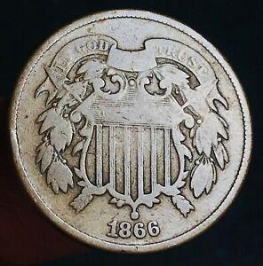 1866 Two Cent Piece 2C Ungraded Good Date Civil War Era US Copper Coin CC6440