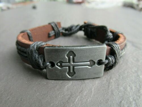 Jesus Cross Leather Bangle Bracelet Adjustable Womens Mens Hippie Jewelry UK