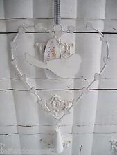 Hänger Herz Metallherz Dekoration Türglocke Anhänger shabby chic Glocke weiß