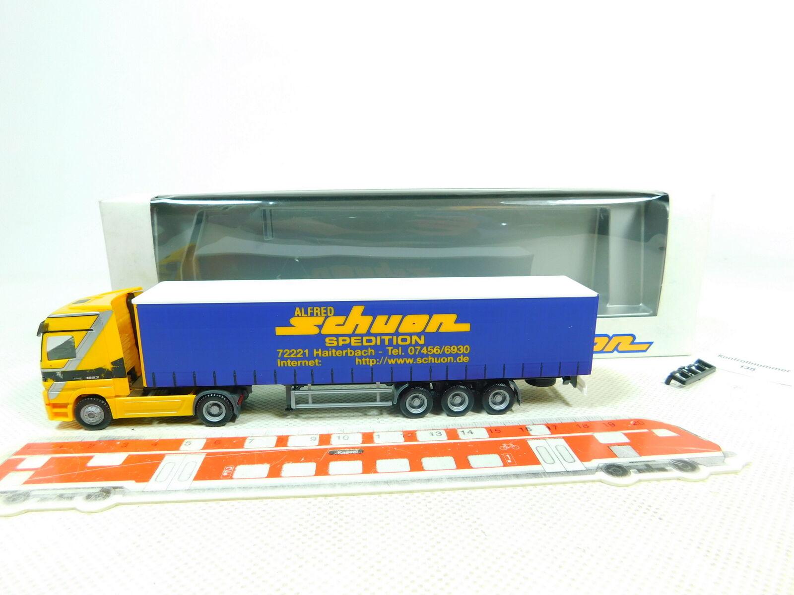 Bt411-0, 5  Herpa h0 1 87 semi-remorque camion Mercedes Mb Schuon transporteur, Neuw  neuf dans sa boîte