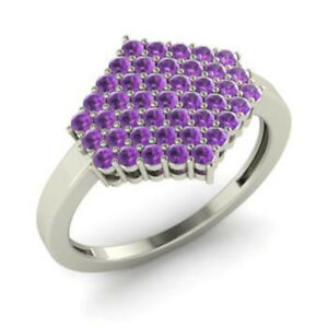 0-86-Ct-Round-Natural-Gemstone-Party-Amethyst-Ring-14K-White-Gold-Size-N-M