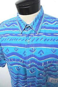 RARE-VTG-Bugle-Boy-blue-cotton-Hawaiian-camp-shirt-sz-L-mens-S-S-5118