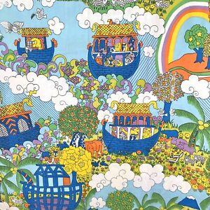 Noah-039-s-Ark-Psychedelic-Twin-3-Piece-Sheet-Set-1970s-Bedding-Sears-Roebuck