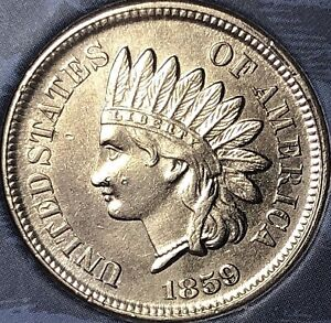 1859-INDIAN-HEAD-PENNY-Almost-4-DIAMONDS-BEAUTIFUL-COIN-Cleaned