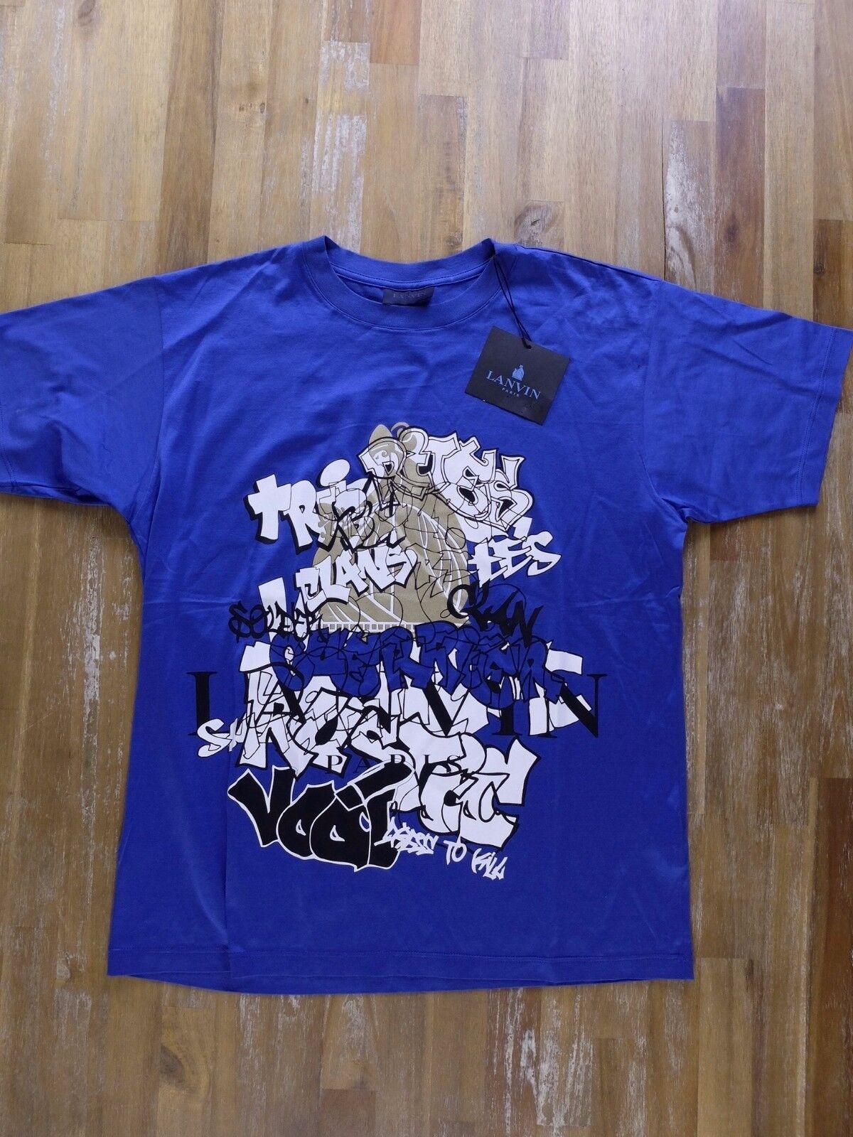 LANVIN Paris Blau logo print t-shirt authentic - Größe XS - NWT