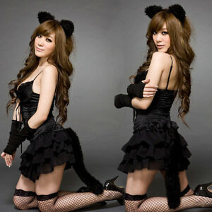 Sexy-Cat-Suit-Lingerie-Girl-Cosplay-Costume-Clubwear-Dress-Headbang-1Sets-New