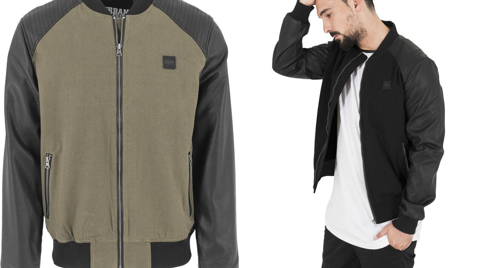 Städtisch Classics Jacke Herren Cotton Bomberjacke Leather Nachahmung TB1163