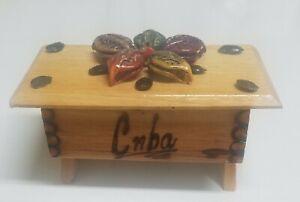 Vintage Wood Cuba Desk Design Pill/Trinket/Jewelry Box