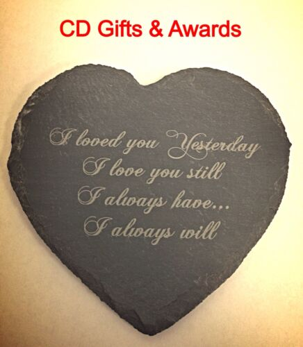 PERSONALISED LASER ENGRAVED HEART SLATE LASER ENGRAVING ANNIVERSARY MEMORIAL