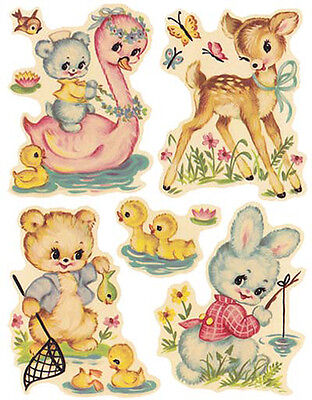 VinTaGe IMaGe AsSoRTeD NuRSerY ANiMaLs ShaBby WaTerSLiDe DeCALs