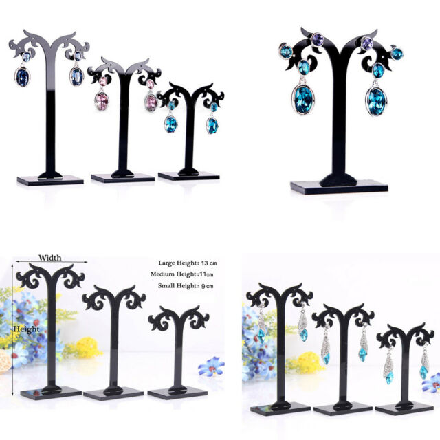Acrylic Black Display Stands Earrings Holder Different Height Detachable