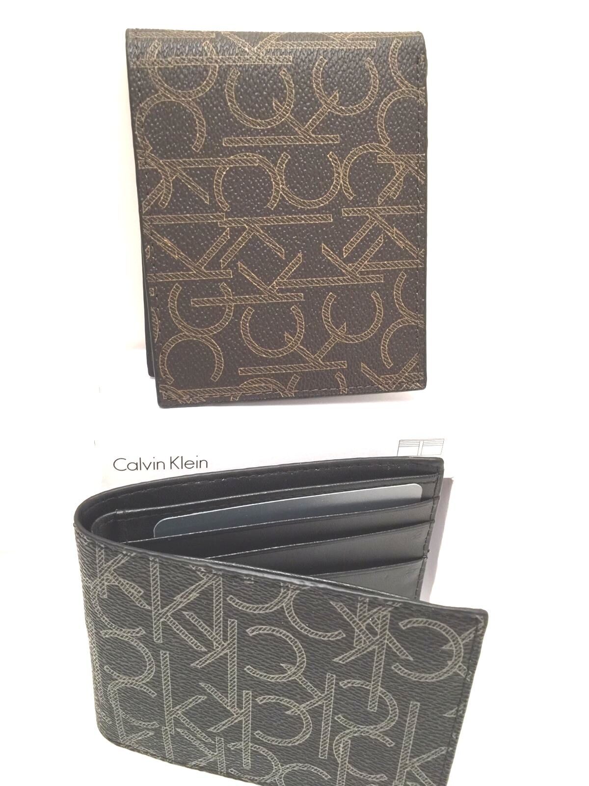 hot sale online hot-selling clearance best service CALVIN KLEIN Men's Wallet Black Brown w/CK Logo Billfold New