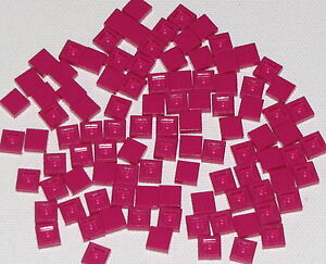 LEGO-LOT-OF-100-NEW-1-X-1-MAGENTA-TILES-FLAT-SMOOTH-PINK-PIECES