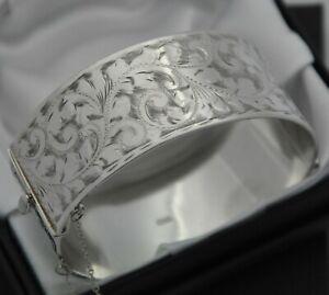 1962-Vintage-Wide-amp-Heavy-Solid-925-Silver-Scroll-Design-Hinged-Bangle-Bracelet