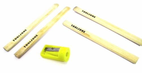 Trade Quality 4pc Carpenters Pencils & Sharpener Woodworking New TZ WW158