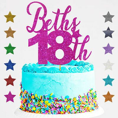 Personalised Custom 16th Birthday Glitter Cake Topper Sixteen 18 18th Name Age
