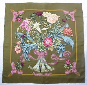 Authentic-HERMES-Paris-REGINA-L-Menchari-Green-Pink-Floral-35-034-Silk-Scarf-1997