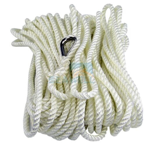 Polyester Mooring Rope Anchor Line Three Strand Dock Rope With Thimble 6mm-20m