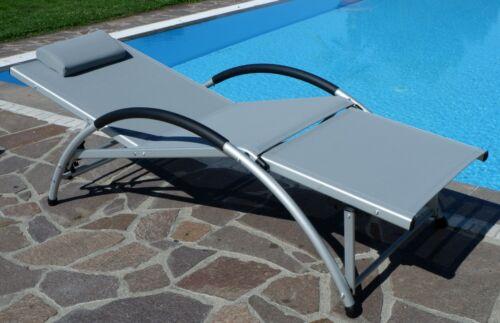 De jardin transat ventre musculaire entraîneur Chaise longue alu avec oreiller fit-Gris