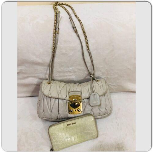 MIUMIU Materasse Chain Shoulder bag Beige leather