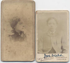 MINIATURE CABINET CARDS, SET OF TWO. YOUNG BOY IN JACKET AND YOUNG WOMAN.