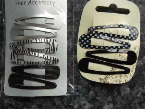 2 x pack 4 /& 6 polka dot hair bendies metal 4.7cm sleepies snap clips grips clip