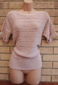 WALLIS-PALE-PINK-SILVER-GLITTER-KNIT-KNITTED-JUMPER-PARTY-WINTER-TOP-BLOUSE-S