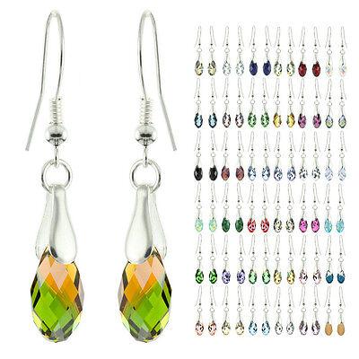 925 Sterling Silver Faceted Briolette Fern Green & Topaz Blend Dangle Earrings