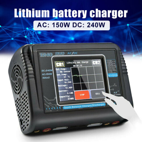 HTRC Touch Screen Dual Channel RC car lipo battery Balance Charger Discharger