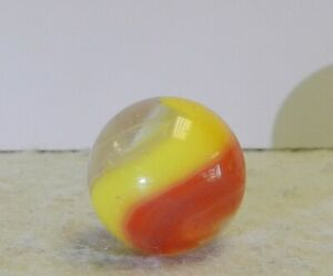 #11743m Large .72 Inches Akro Agate Red and Yellow Popeye Marble