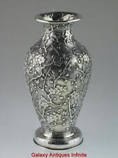 Rare Antique Chinese Solid Silver Vase Circa 1900