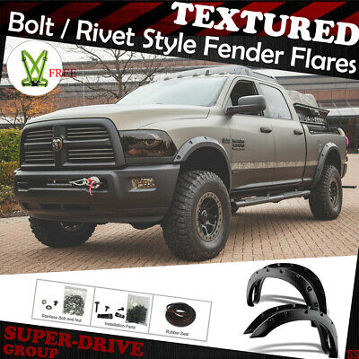 BLACK PAINTABLE Pocket Rivet Bolt Fender Flares 09-18 Dodge RAM 1500 FULL SET