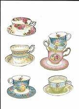 4 Teacups & A Stack Fabric Iron On Appliques
