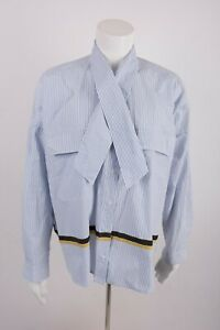 Zara-Women-039-s-Shirt-Blouse-M-White-Blue-Striped-Oversize-Bow-Collar-2218-113-NWOT
