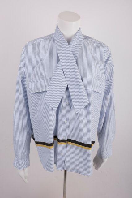 Zara Women's Shirt Blouse M White Blue Striped Oversize Bow Collar 2218/113 NWOT