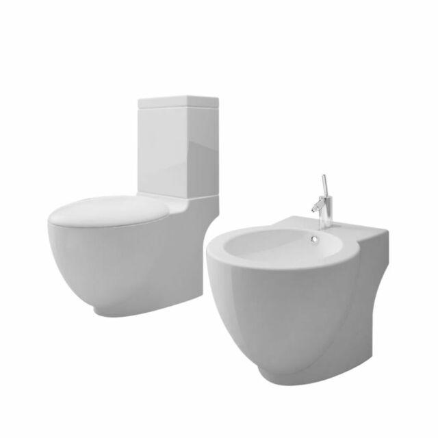 vidaXL Set de Inodoro y Bidé Suelo Pie Cerámica Blanco WC Váter Retrete Bidet