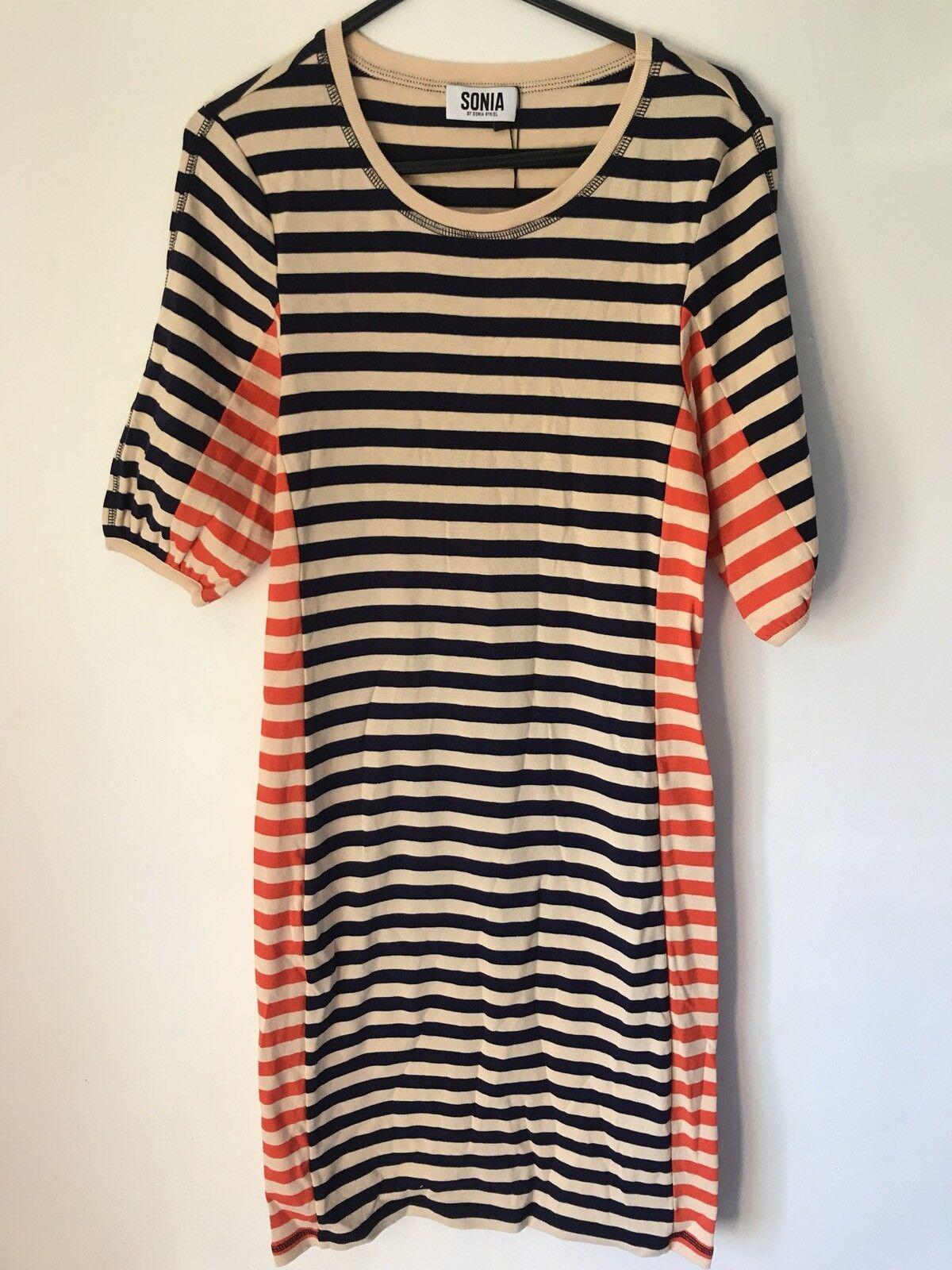 Designer Sonia Sonia Sonia By Sonia Rykiel Striped T-Shirt Dress Navy RRP  XS Brand New 00ca22