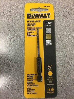 """DEWALT Rapid Load High Speed 3//32/"""" x 3/"""" Hex Shank Drill Bit DW2553 NEW"""
